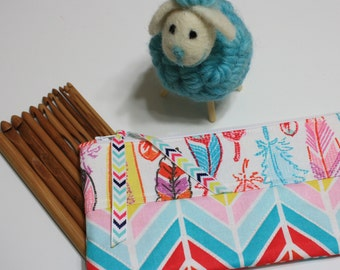 Bamboo Crochet Hooks & Organizer, INCLUDES Set of 12 bamboo crochet hooks, Feathers and Arrows fabric zipper pouch