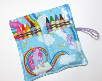 Crayon Rolls Party Favors, Unicorns & Rainbows, holds 10 crayons, Birthday Party Favors