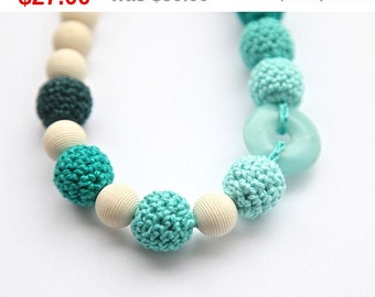 Sale! Green mint crochet necklace with natural stone. Wrap Baby Carrier Sling Accessory, nursing necklace.