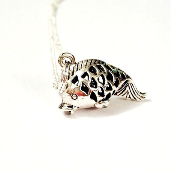 Fish charm necklace koi carp gifts under 10 by thedorothydays for Koi fish gifts