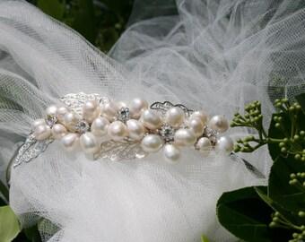 Bridal Quinceanera Freshwater Pearls Headpiece/Swarovski Crystals/Cotillion/Prom/Quinceanera Tiara Headpiece/Nostalgic Baby Couture