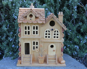 Two Townhouses birdhouse, wine cork art