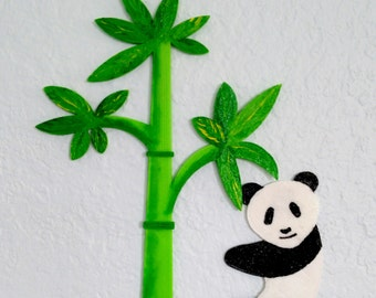 Magnets - Wall Art - Hand Oil Painted And 3D Print - Includes small pieces of Mount Tape As Alternative - Item Panda A_Bamboo A