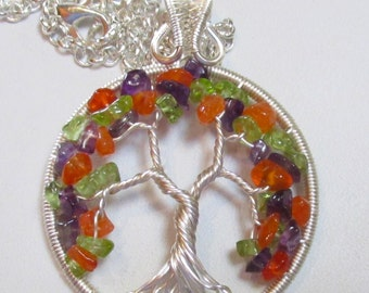 Peridot, Amethyst & Carnelian Tree of Life Necklace, Gemstone Jewelry