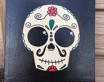 Day of the Dead Sugar Skull  on 8 x 8 Canvas