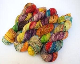 Hand Dyed Fingering, Sock Yarn, Superwash Merino Wool, Variegated, Knitting Yarn, Graffiti ROYGBIV