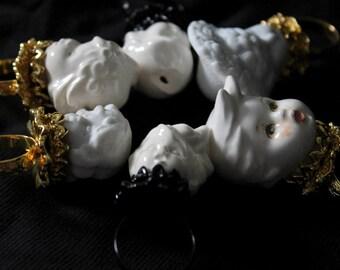 Doll Maker: Porcelain Bisque Doll Head Filigree Rings