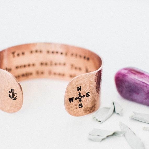 Copper compass bracelet. Courage quote bracelet. Inspirational quote bracelet.Anchor bracelet.Hand stamped secret message bracelet RTS CC002