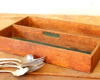 Antique Silverware Caddy Wooden Buffet Cutlery Storage Flatware Holder Carrier Tray Tote with Handle