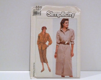 Safari Shirt Dress Skirt Vintage Simplicity 7886 1980s Never Used FF uncut Size 6 8 Bust 30 31 Military Inspired Dress Roll up Sleeve Top