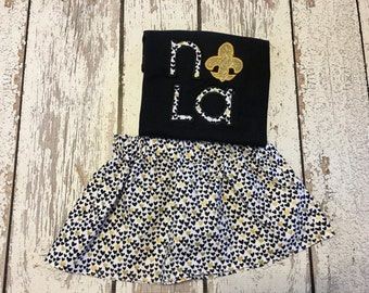 new orleans saints kid clothing, black and gold skirt, black and gold outfit, saints outfit, saints cheerleader