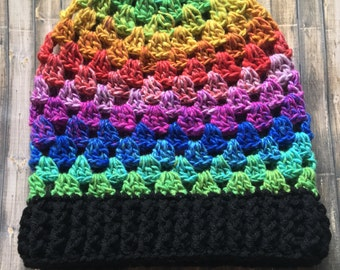 Granny Stripe Beanie- Rainbow Pride