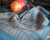 Handwoven Tea or Kitchen Towel Stone Wall- Teal