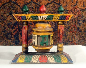 Tibetan Prayer Wheel, Buddhist Prayer Wheel, Carved Wood, Buddha Wheel, Om Mani Prayer, Meditation Altar, Buddhist Altar, Om Mani Padme Hum