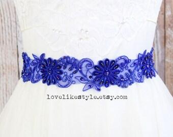 Royal Blue Beaded Lace Sash, Bridal Royal Blue Sash, Bridesmaid Blue Sash, Flower Girl Blue Sash