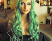 SPRING SALE - Green Curly Wig - Long Curly Hair - Long Bangs Hair Piece - Approx. 30 Inches - Emo - Rockabilly - Cosplay - Priority Mail
