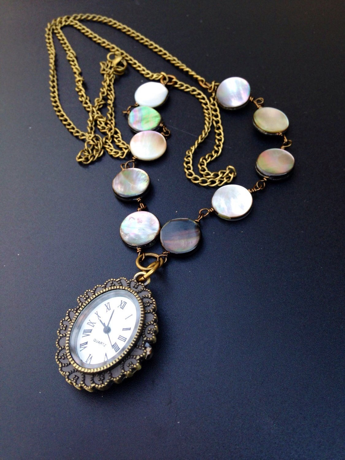 Watch Necklace Cameo Pendant Pearl Shell Long By Lyrisgems