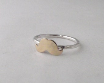 Stunning Handmade Sterling Silver 925 Hammer Finish Gold Moustache Stacking Ring