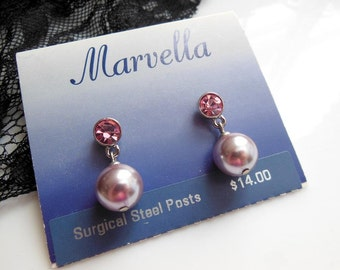 Retro Vintage Marvella Pink Rhinestone Pearl Dangle Surgical Steel Post Earrings