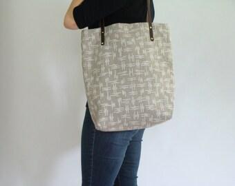 Market Tote Screen Print Natural Linen Weekender Bag Carryall