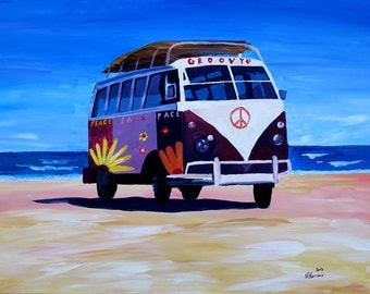 Surf Bus Series - The Groovy Peace VW Bus - Limited Edition Fine Art Print