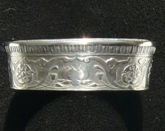 Silver Coin Ring 1943 India 1/2 Rupee, Ring Size 7 1/2 and Double Sided