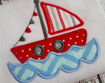 applique sail boat machine embroidery design, embroidery sail boat, appliqué nautical sail boat, nautical design, appliqué embroidery design