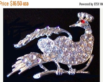 """Crested Bird Brooch Pin Clear Ice & Red Rhinestones Silver Metal 2 1/4"""" Vintage"""