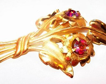 "Art Nouveau Brooch Red Watermelon Rhinestones Gold Flower Leaf C Clasp 3"" Vintage"