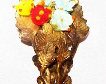 """Art Nouveau Dress Fur Clip Celluloid Flower Leaf Design Brass Metal 2"""" Vintage"""