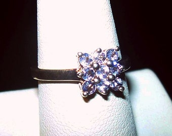 Natural Tanzanite Ring Signed 925 Sterling Silver Princess Cut Flower Sz 7 Vintage
