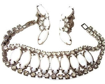 Bracelet Earring Set White Glass & Clear Rhinestones Silver Metal Wedding Vintge