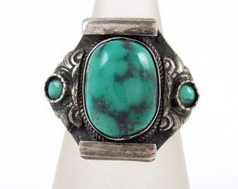Sterling Silver Turquoise Ring Signed 925 Tibetan Handmade Ladies Sz 8 Vintage