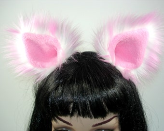 Pink and White Cat Ears -Cat Ears-Kitty Cat Ears- Halloween- Costume- Cosplay- Animal Costume- Faux Fur- Furries - Anime- Cat Costume- Pink