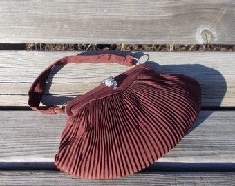 vintage pleated silk bag - 40s/50s
