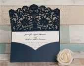 Navy Laser Cut Wedding Invitations. Pocket Style Wedding Invitation. Rustic Wedding. Laser Cut. Rustic Chic Wedding. Ivory and Kraft
