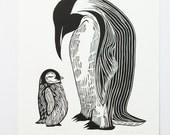 Penguin woodcut print