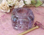 Handsome Antique Purple Glass Inkwell
