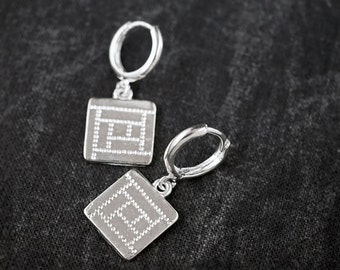 MINI HOOPS With Silver Square