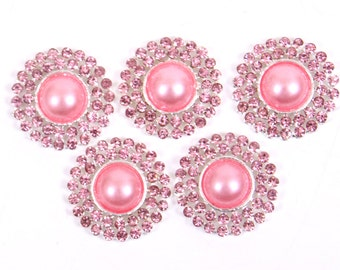 Metal Rhinestone Buttons - Pearl Drop Button -20mm SET OF FIVE - Pink