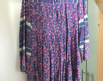 Authentic Vintage Boho Made in India Printed Sun Dress