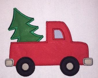 Toddler Christmas Tree Truck Applique Customizable Name White Long Sleeve Shirt