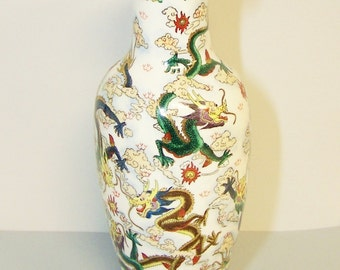 NINE DRAGONS VASE - Tall Chinese Porcelain Vase - Hand Painted in Greens, Blues, Purple, Brown, Rust & Yellow, Accented with Metallic Gold