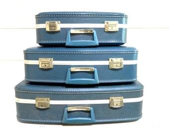 Vintage Luggage Set Blue Midcentury Hard Shell Nesting