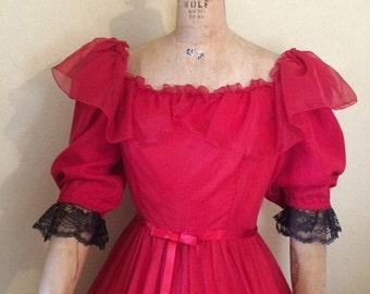 Southern Belle, Victorian gown, Spanish dress,  70s 80s formal or Día de Muertos costume