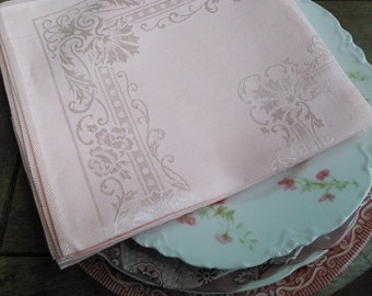 Gorgeous Soft Pink Damask Cloth Napkins Set of 8 Made in Japan by Toyobo Cotton Rayon