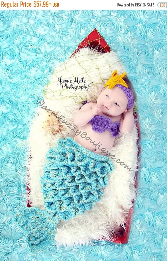 SUMMER SALE Baby Mermaid Set Starfish Headband Shells Tail Drape - 4 Sizes Hat Crochet Outfit Newborn Boy Girl Halloween  Photo Prop