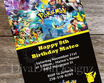 Pokemon Invites | Pokemon Invitations | Pokemon Party | Pokémon, Party Invitations | Kids Party Invitations |