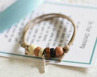 Boys Christening or Baptism Bracelet, New Baby Gift, Boys Christening Gift, Baptism Gift for Boys, Wooden and Cord Bracelet for boys,