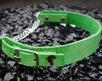 The Anduril Collar: Lime Green Adjustable Leather Martingale Dog Collar